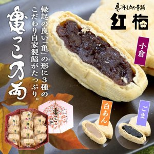 紅梅「もなか 亀っ子万両」−小倉餡4個、白餡3個、胡麻餡3個の計10個 幸福を呼ぶ八角の箱入り|kesennu-market