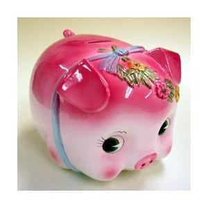 豚の貯金箱 ピギーバンク ブタバンク 大 ピンク Piggy Bank|kewpie