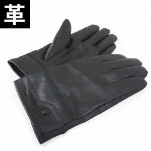 手袋 メンズ レザー 革 グローブ 黒 飾りボタン付き キーズ Keys-004|keys