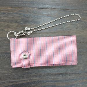 財布 レディース 長財布  メンズ ギンガム チェック ウォレットチェーン付き ボタン付き Keys-GS38|keys
