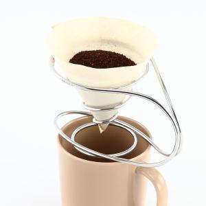 ステンレス製のコーヒードリッパー。 ワイヤーで構成され面を持たない本商品は、お湯の注ぎ方で様々に味が...