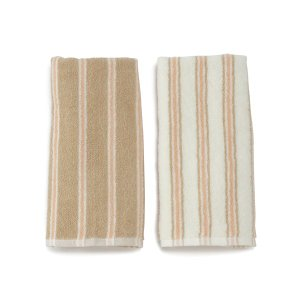 KEYUCA(ケユカ) フェイスタオルセット 洗顔タオル | ストライプ フェイスタオル ピンク 2枚セット|keyuca