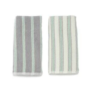 KEYUCA(ケユカ) フェイスタオルセット 洗顔タオル | ストライプ フェイスタオル グリーン 2枚セット|keyuca