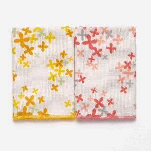 ふきん 花柄   DishCloth2 クロス 2枚セット フラワーパーティー柄 オレンジ×ピンク KEYUCA(ケユカ) (グッドプライス) keyuca