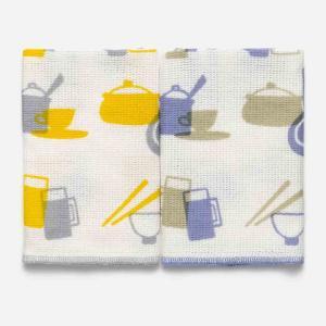 ふきん おしゃれ   DishCloth2 クロス 2枚セット キッチンツール柄 イエロー×パープル KEYUCA(ケユカ) (グッドプライス) keyuca
