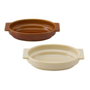 積み重ね ブラウン アイボリー ナチュラル 楕円型 薄型 コンパクト グラタン皿 | zata スタッキングオーバルグラタン KEYUCA(ケユカ)|keyuca