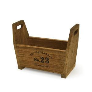 アンティーク調◆木製 ハンドルボックス ブラウン◆ナチュラル雑貨 ガーデニング雑貨|kh-company7