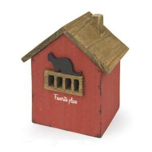 アンティーク調◆木製ハウスボックス ネコ レッド◆ナチュラル雑貨 インテリア雑貨|kh-company7