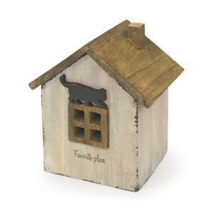 アンティーク調◆木製ハウスボックス ネコ ホワイト◆ナチュラル雑貨 インテリア雑貨|kh-company7