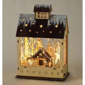 クリスマス◆エルツ LEDメロディウッドオブジェ ハウス kh-company7