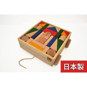 KAWAI 木のおもちゃ 抗菌カラー引き車つみき 4620 日本製  知育 出産祝いのギフトに 誕生日プレゼントに クリスマスプレゼントに|kiarl