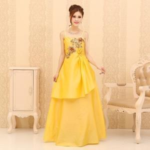【Lサイズ】フラワー刺繍ロングドレス
