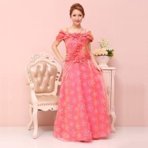 【Lサイズ】ロングドレス コサージュ半巻き風花柄オーガンジードレス
