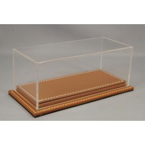 ATLANTIC CASE 1/43用 ディスプレイケース&ベース Mulhouse Raised レザーベース (厚/ブラウン) & アクリルケース kidbox