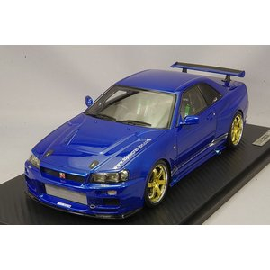 ☆ イグニッションモデル 1/18 トップシークレット GT-R (BNR34) メタリックブルー/ボルクレーシングTE37 18インチ(ポリッシュ/ゴールド)|kidbox