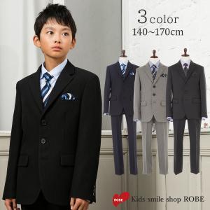 卒業式 小学校 男子 服 スーツ フォーマル 子供 ブラックフォーマル 5点セット 140 150 160 170cm フォーマルスーツ JOMM JOMM|kids-robe