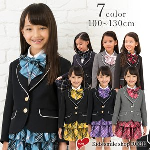 入学式  子供服 女 服 スーツ  小学生 卒園式  子供服  スーツ4点セット ブラックフォーマル キッズ 120 130cm 紺 赤 ピンク ALICE MAGIC|kids-robe