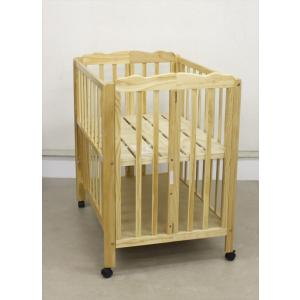 送料無料 美品 折りたたみミニベビーベッド パタン ナチュラル 大和屋 新生児OK クリーニング済み C90000|kidsfan