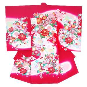 お宮参り着物 初着 産着 女子の正絹産着 刺繍入り鼓柄赤ワイン 日本製 フードセット付 kidskimonoyuuka