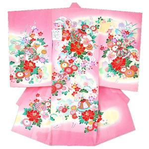 お宮参り着物 初着 産着 女児の正絹産着 刺繍入り鈴柄に牡丹ピンク 日本製 フードセット付 kidskimonoyuuka