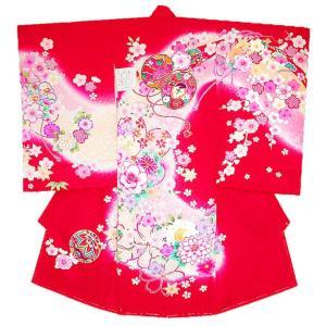 お宮参り着物  正絹産着 女子初着 女児 刺繍入り 桜に鼓柄赤 正絹フードセット付 kidskimonoyuuka