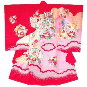 お宮参り着物 初着 産着 女子の正絹産着 扇面に御所車柄赤 フードセット付|kidskimonoyuuka