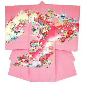 お宮参り着物 初着 産着 女子正絹産着 刺繍入り まりに牡丹柄ピンク 日本製 フードセット付|kidskimonoyuuka