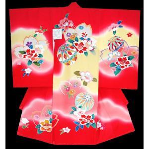 お宮参り着物 初着 産着 女児の正絹 手描き風 マリ柄赤ピンク 日本製 フードセット付 kidskimonoyuuka