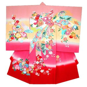 お宮参り着物 初着 産着 女児の正絹 手描き風 熨斗柄ピンク 日本製 フードセット付|kidskimonoyuuka