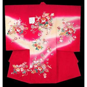お宮参り着物 初着 産着 女子の正絹産着 花車柄赤 日本製 フードセット付 kidskimonoyuuka