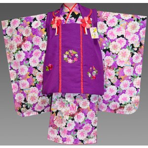 七五三 3歳 着物 753 女の子 被布セット 旧式部浪漫柄被布コートフルセット  8|kidskimonoyuuka