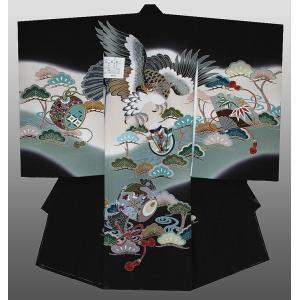 お宮参り 着物 産着 初着 男子正絹産着 鷹に小槌柄 黒 日本製 フードセット付|kidskimonoyuuka