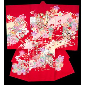 お宮参り着物 初着 産着 女子の正絹産着 刺繍入り御所車柄赤 日本製 フードセット付 kidskimonoyuuka