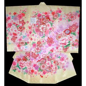 お宮参り 着物 初着 産着 女子の正絹産着 刺繍入り 鼓にさくら柄からし色日本製 フードセット付|kidskimonoyuuka