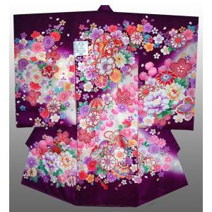 お宮参り 着物 初着 産着 女子の正絹産着 刺繍入り 鼓にさくら柄紫日本製 フードセット付|kidskimonoyuuka