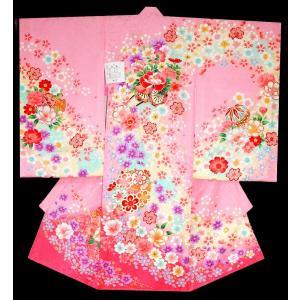 お宮参り 着物 初着 産着 女子の正絹産着 刺繍入り 花車柄ピンク日本製 フードセット付|kidskimonoyuuka