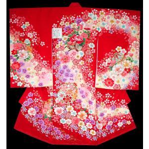 お宮参り 着物 初着 産着 女子の正絹産着 刺繍入り 花車柄赤日本製 フードセット付|kidskimonoyuuka