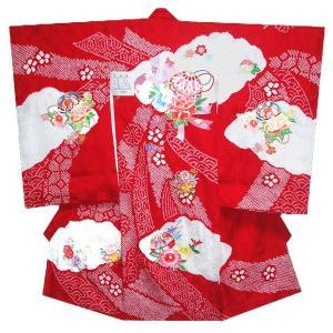 お宮参り着物 初着 産着 女子の正絹産着 手絞りに刺繍まりに熨斗柄 フードセット付|kidskimonoyuuka