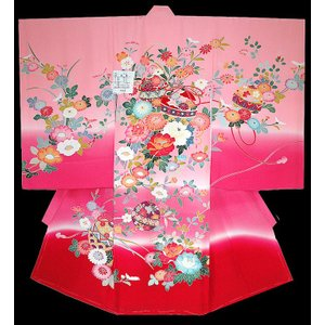 お宮参り着物 初着 産着 女児の正絹 手描き風 鈴柄 ピンク 日本製 フードセット付|kidskimonoyuuka