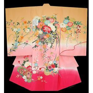 お宮参り着物 初着 産着 女児の正絹 手描き風 花車柄 からし色 日本製 フードセット付|kidskimonoyuuka