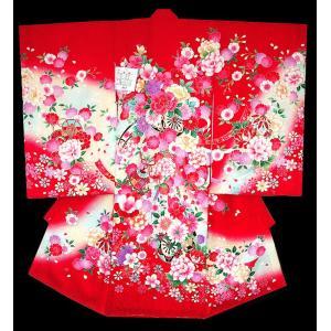 お宮参り 着物 初着 産着 女子の正絹産着 刺繍入り 薔薇に花車柄赤 日本製 フードセット付|kidskimonoyuuka