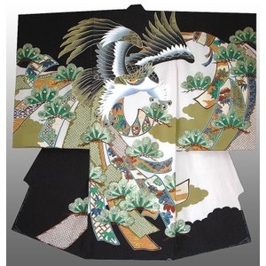 お宮参り 着物 正絹産着 男子初着 鷹に熨斗に松葉柄 黒刺繍入り 日本製 正絹フードセット付|kidskimonoyuuka