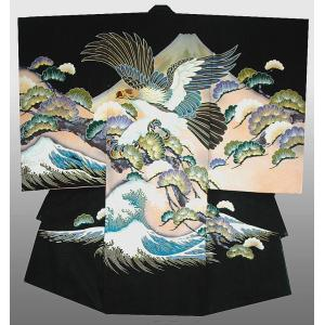 お宮参り 着物  男子正絹産着 初着 鷹に富士山柄 黒刺繍入り 日本製 正絹フードセット付|kidskimonoyuuka