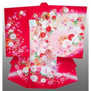 お宮参り着物  正絹産着 女子初着 女児刺繍鼓とマリに牡丹柄 ピンク赤 日本製 正絹フードセット付 kidskimonoyuuka