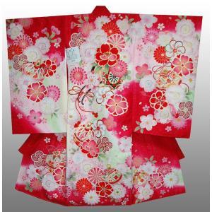 お宮参り着物 初着 産着 女児の正絹産着 刺繍花車にマリ柄赤 フードセット付|kidskimonoyuuka