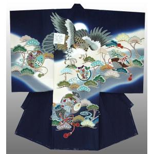 お宮参り 着物 産着 初着 男子正絹産着 鷹に小槌柄 紺 日本製 フードセット付|kidskimonoyuuka