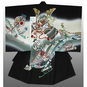 お宮参り 着物 産着 初着 男子正絹産着 兜に小槌柄 黒 日本製 フードセット付|kidskimonoyuuka