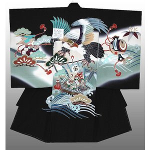 お宮参り 着物 産着 初着 男子正絹産着 鷹に宝船柄 黒 日本製 フードセット付|kidskimonoyuuka