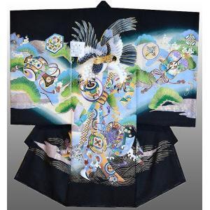 お宮参り 着物 産着 初着 男子正絹産着 鷹に駒柄 黒 刺繍入り 日本製 フードセット付 kidskimonoyuuka
