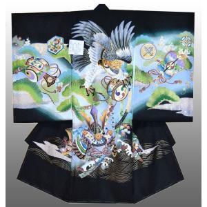 お宮参り 着物 産着 初着 男子正絹産着 鷹に兜柄 黒 刺繍入り 日本製 フードセット付 kidskimonoyuuka